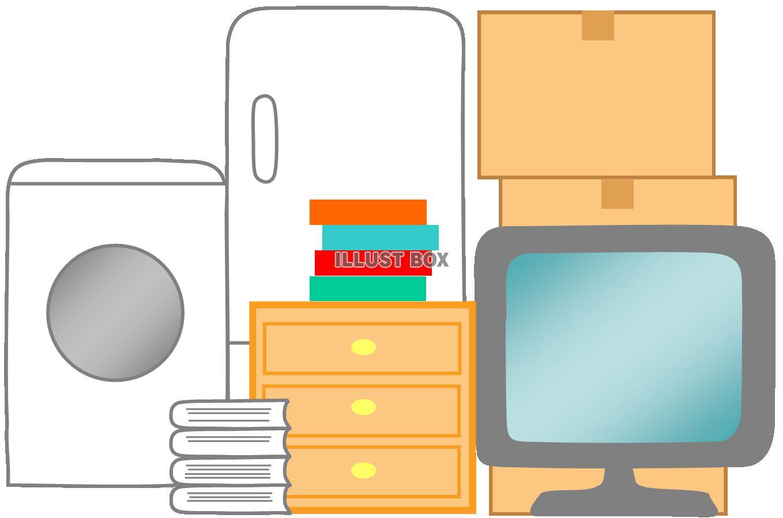 引っ越しの荷物のイラスト